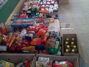 Lote de Alimentos recodigos durante la Gala del Deporte