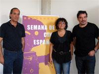 Fernando Jover y Juan Carlos Pajares, junto a Blanca Cerrudo en la Semana de Cine Español en Béjar