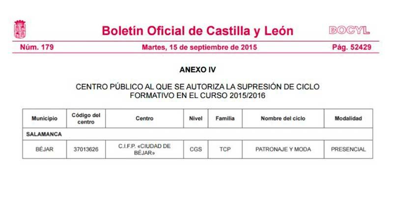 Boletin oficial en el que se hace publica la supresion del titulo en Béjar
