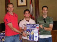 Juan Luis García Téllez y Luis Amado junto al concejal de Deportes de Béjar