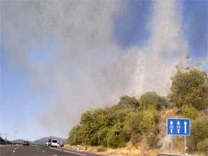 Imagen del incendio desde la autovía