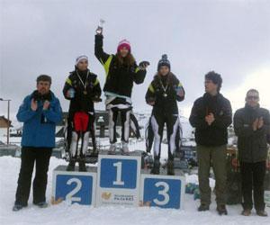 Podium conseguido por el club de esquí La Covatilla