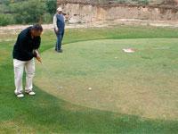 imagende un jugador en un green del campo de golf