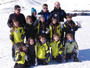 Equipo alevín del Club de Esquí de La Covatilla en San Isidro