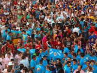 Peñas bejaranas durante el pregón de las Fiestas de Béjar 2009