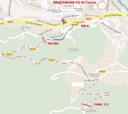 plano y mapa de situación de la prueba