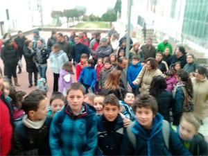 Alumnos del CEIP La Antigua de Béjar durante la protesta
