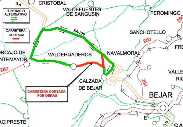 plano del corte de carreteras
