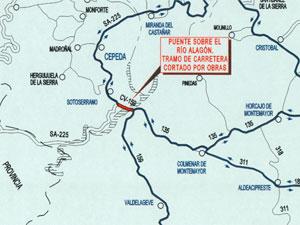 Mapa de situacion mostrando el corte de carretera y alternativas