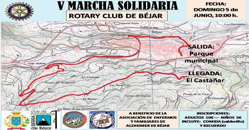 cartel y mapa del recorrido de la marcha solidaria