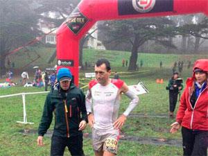 Miguel Heras tras cruzar la meta de la TNF San Francisco