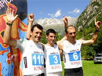 Miguel Heras, Kilian Jornet y Nicola Golinelli. Kima 2010