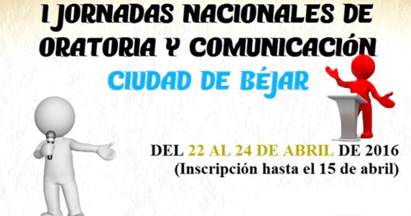 Vista parcial del cartel anunciador de la actividad I jornadas nacionales de oratoria y debate ciudad de Béjar