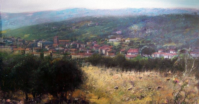 cuadro con una vista panorámica de la ciudad de Béjar