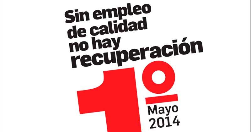 logotipo sindical del primero de mayo animando a la participacion