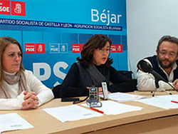 Elena Martín Vázquez durante la rueda de prensa del PSOE