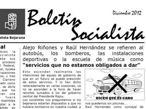 Boletin Socialista Diciembre 2012