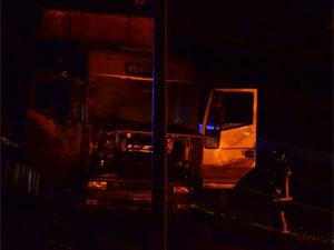 Camión siniestrado en la A66 a su paso por Béjar