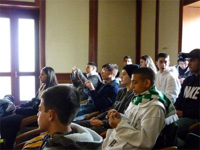 Estudiantes Israelíes durante su recepción el alcalde de Béjar