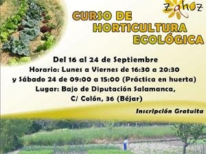 Cartel Curso de Horticultura Ecológica en Béjar