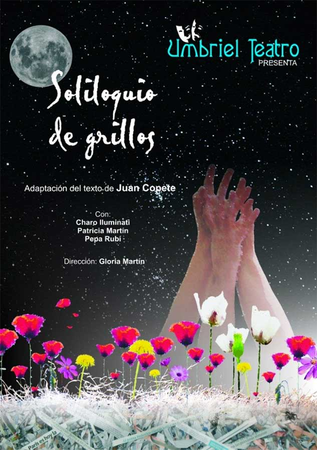 Campo de flores con manos y luna de fondo. Cartel de la obra