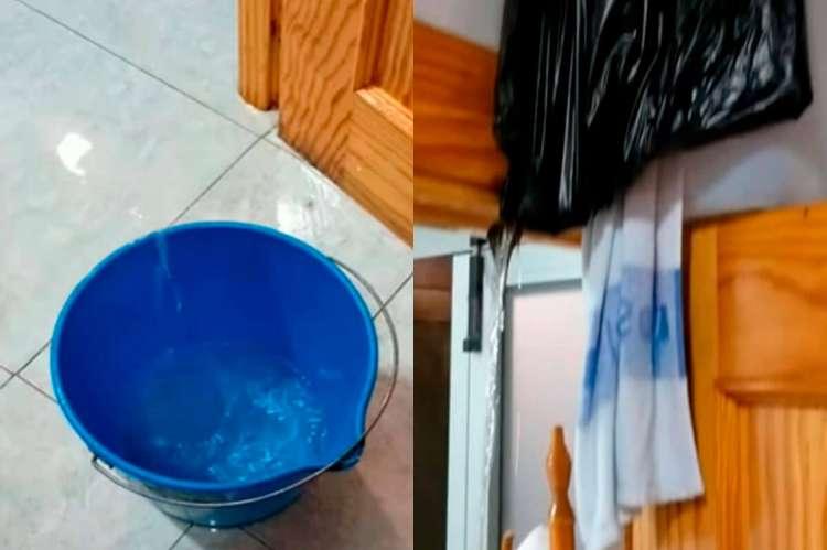 Cubo recogiendo agua tras la rotura de una tubería en la base del 112 de Béjar