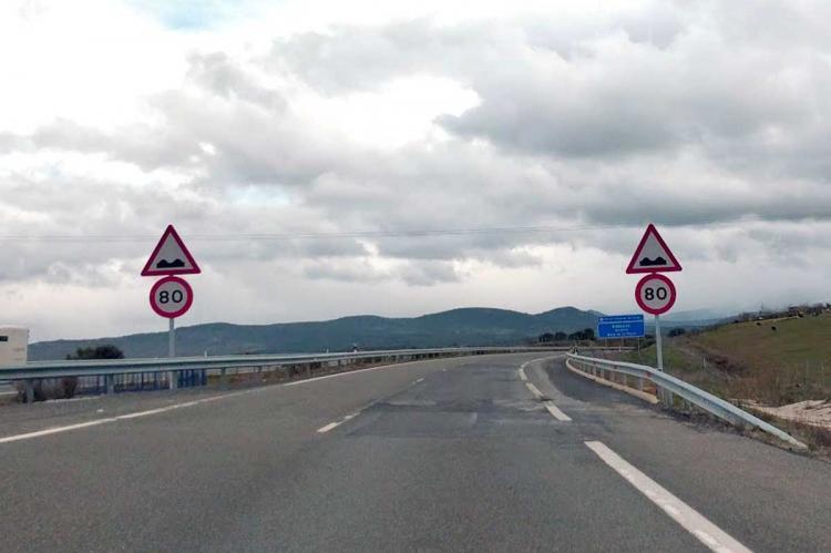 Tramo de autovía limitado a 80km/h entre las localidades de Guijuelo y Sorihuela