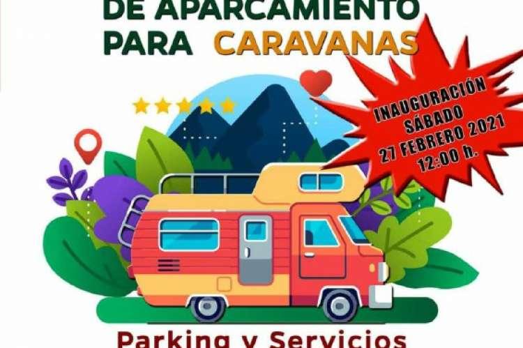 Cartel  promocional del aparcamiento de caravanas