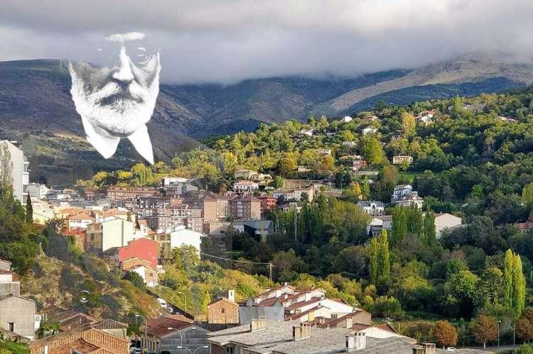 Imagen de Miguel de Unamuno sobreimpresionada sobre una panorámica de Béjar