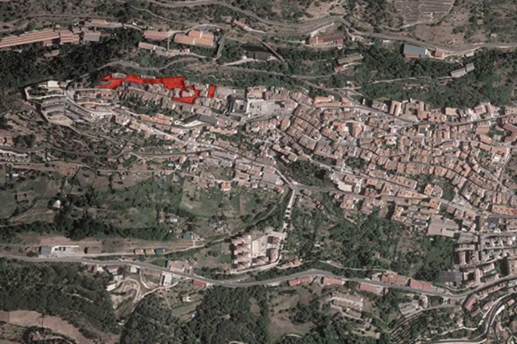 Vista satélite de Béjar con la zona de actuación marcada en rojo