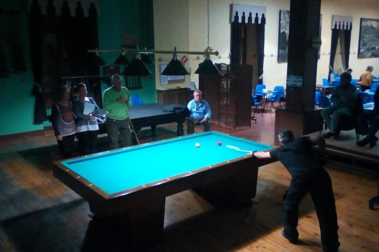 Inicio de las partidas campeonato de billar del Casino Obrero