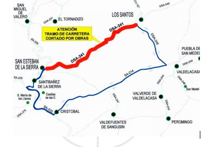Corte y ruta propuesta por la Diputación