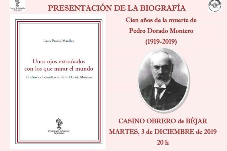 Portada del libro y cartel anunciador de la actividad en el Casino Obrero de Béjar