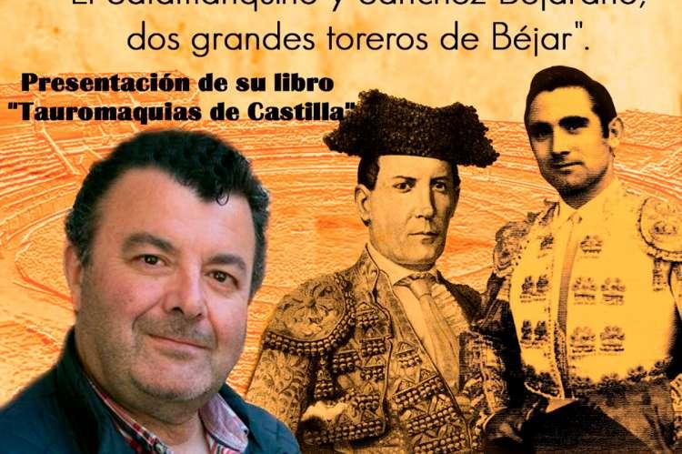 El ponente, Paco Cañamero, en el cartel anunciador de la actividad