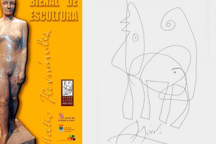 Cartel Bienal de Escultura Mateo Hernández junto al dibujo de Miró dedicado a Mateo Hernández