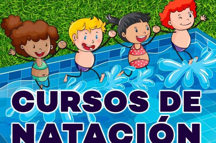 Vista parcial cartel de los Cursos de Natación