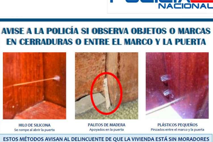 Cartel con imagenes de la campaña para evitar robos en verano de la Policía Nacional