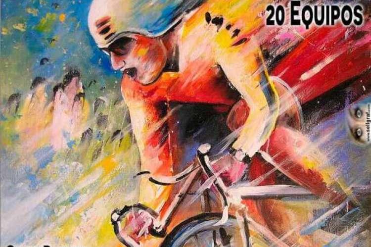 Cartel con texto y ciclista desdibujado