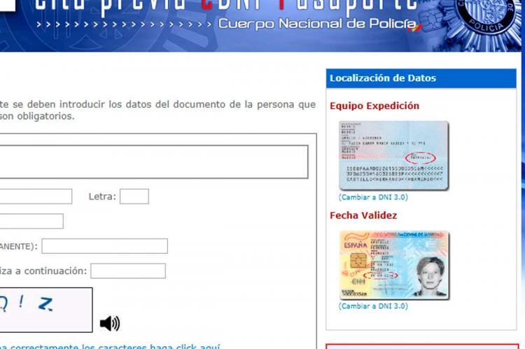 Pagina web Policia par cita previa DNI