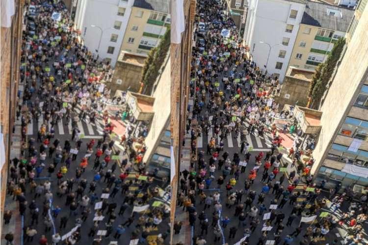 Collage con imagenes de una concentración frente al Hospital de Béjar