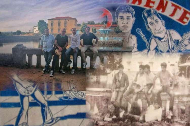 Collage con imagens actuales y de hace 34 años del grupo bejarano