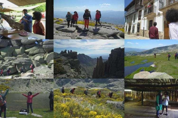 Varios fotogramas del programa Comando al sol. Montaña, personas, casas en Candelario, lagunas de Béjar