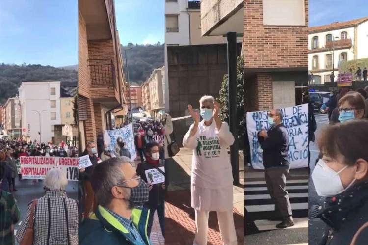 Collage con diferentes momentos de la concentracion frente al hospital de Béjar