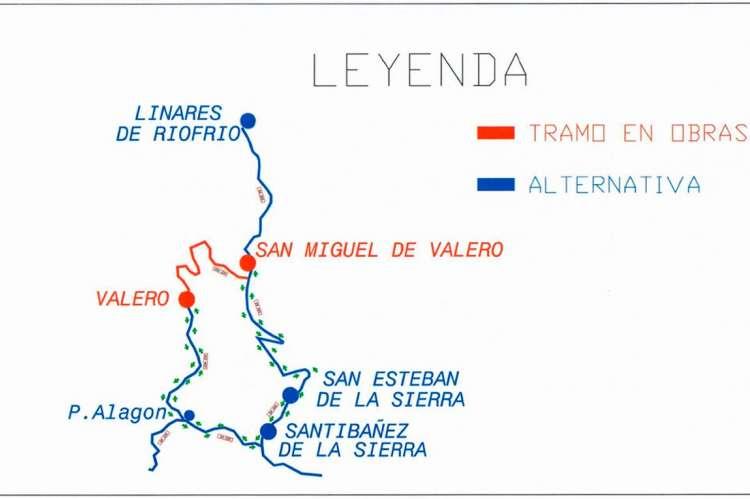 Mapa con recorrido alternativo propuesto por la Diputacion