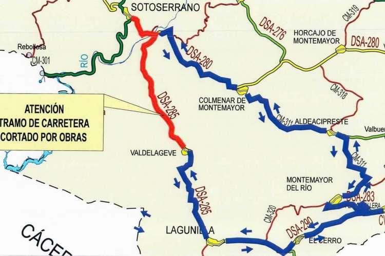 Mapa con recorrido alternativo