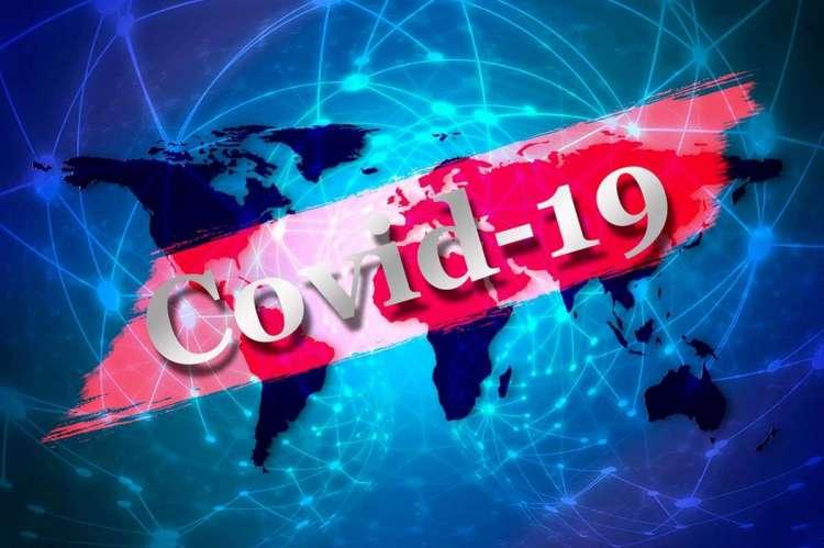 Mapa del mundo con texto COVID-19