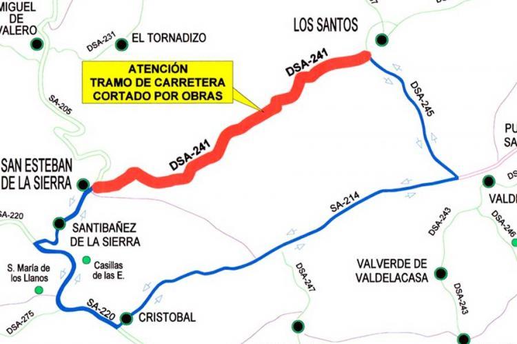 Mapa de ruta alternativa entre Los Santos y San Esteban de la Sierra