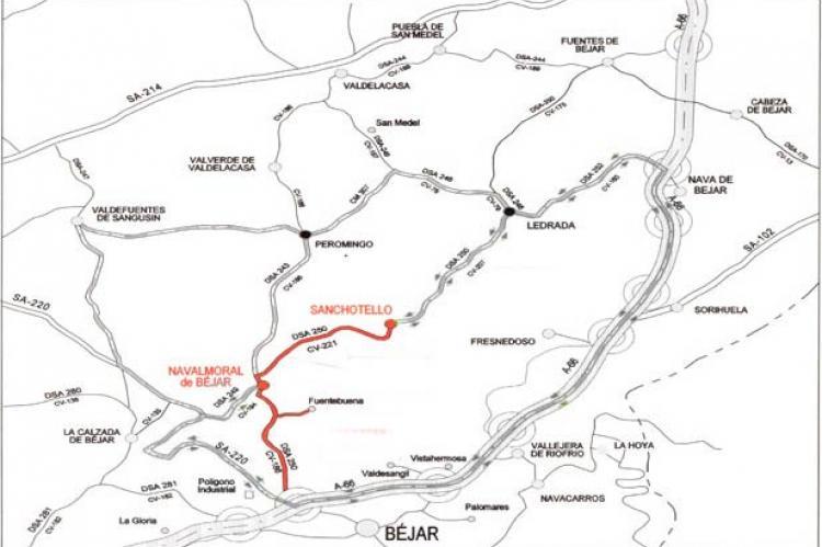 Mapa de carreteras en mal estado de acceso a Fuentebuena
