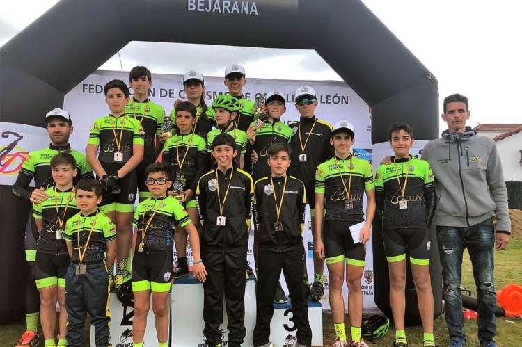 Todos los integrantes de la Escuela de Ciclismo de Béjar en el BTT Ciudad de Béjar
