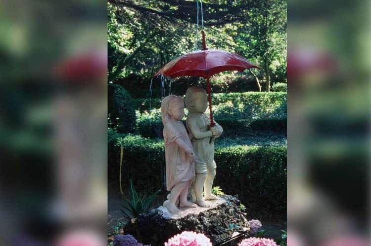 Fuente de el Paraguas en el Bosque de Béjar, antes de su destrucción